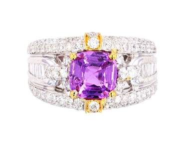 RARE Purplish Pink Sapphire & VS1 Diamond Ring