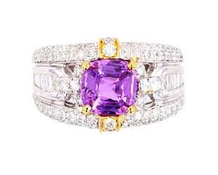 RARE Purplish Pink Sapphire VS1 Diamond Ring