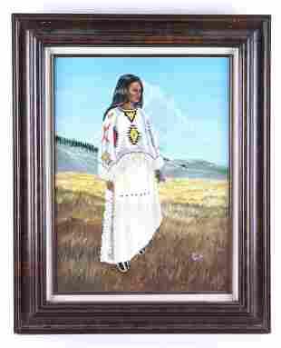 1980 Original Signed J Burr Native Woman Painting