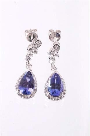 Art Deco Tanzanite Diamond Platinum Earrings