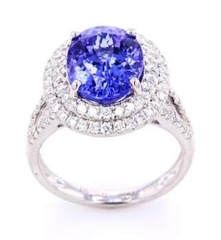 RARE AAA Quality Tanzanite Diamond Platinum Ring