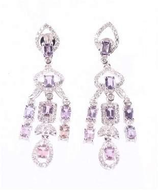 Rare Unheated Pink Sapphire Diamond 18K Earrings