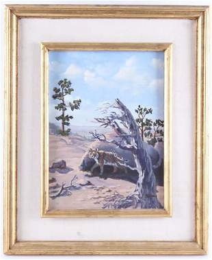 T Swanton Bateman Oil on Canvas Lynx Painting