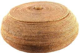 Large Hand Woven Papago Indian Basket with Lid