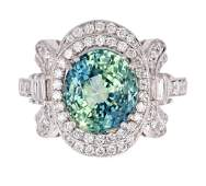 Montana Blue Green Sapphire  Diamond PT950 Ring