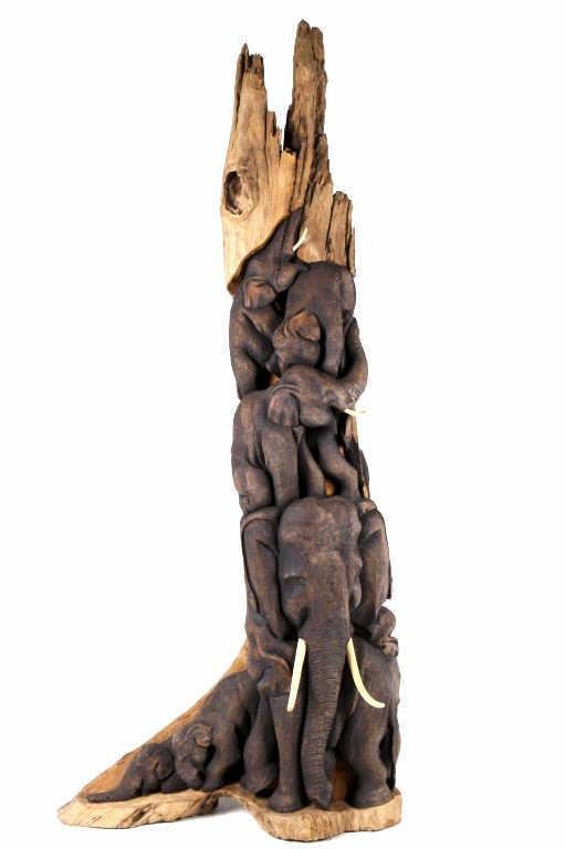 Large Hand Carved Elephant Herd Wooden Statue