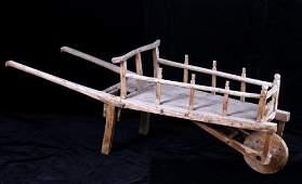 Primitive Wooden Hand Made Wheelbarrow