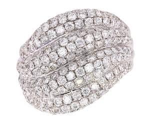 Modern 2.86ct Diamond Pave Set Wave 18K Ring