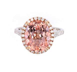 Morganite Diamond 14K Rose and White Gold Ring