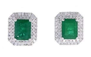 Classic 456ct Emerald Diamond Platinum Earrings