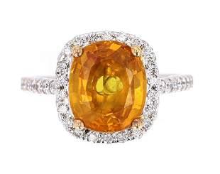 Vintage Yellow Orange Sapphire Diamond 14K Ring