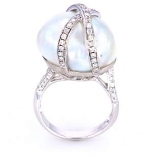 South Sea Baroque Pearl Diamond 18K Gold Ring