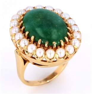 1940s Jadeite Pearl 14K Gold Ring w Papers