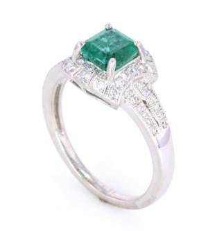 Luxury Designer Emerald Diamond Platinum Ring