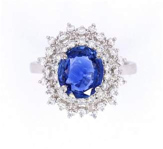 RARE Unheated Cornflower Blue Sapphire Ring w/ GIA