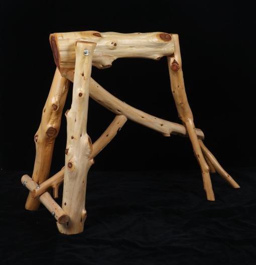 Unique Rustic Pine Log Saddle Stand