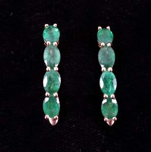 354ct Natural Emerald 18K Yellow Gold Earrings