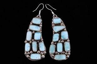 Navajo B Lee Larimar Sterling Silver Earrings