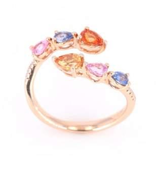 MultiColored Sapphire Diamond 14K Ring