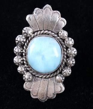 Navajo A Johnson Larimar Sterling Silver Ring