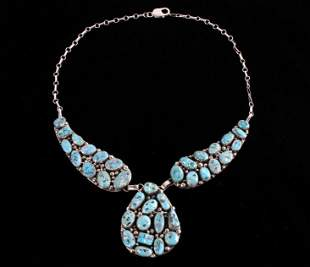 Navajo Sleeping Beauty Sterling Turquoise Necklace