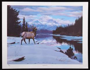 Swan River Elk Limited Edition Print By Sprunger
