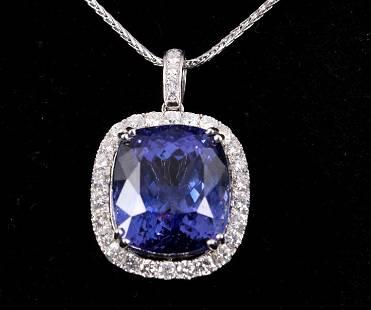 3224 cts Tanzanite Diamond Platinum Necklace