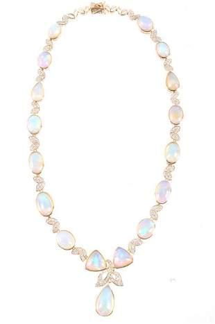5350 cts Jelly Opal Diamond 14K Necklace