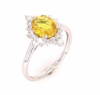 Bright Yellow Sapphire Diamond Platinum Ring