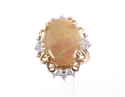 Rare Ethiopian Opal Diamond 14K Gold Ring