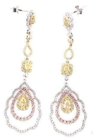 Fancy Yellow Pink Diamond VS2 Diamond Earrings