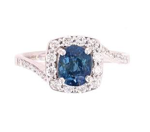 RARE No Heat BiColor Blue to Green Sapphire Ring