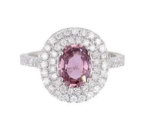 Purplish Pink Sapphire Diamond 18K Ring