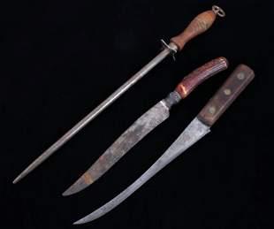 Frontier Skinning Knives Sharpening Steel c 1800