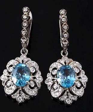 RARE Blue Zircon Diamond 14K Dangle Earrings