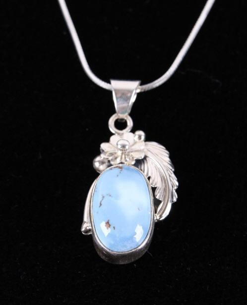 Golden Hill Turquoise Pendant NecklaceSterling SilverHandmade PendantMade In USA