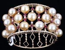 South Sea Gold Pearl, Ruby & Diamond 18K Bracelet