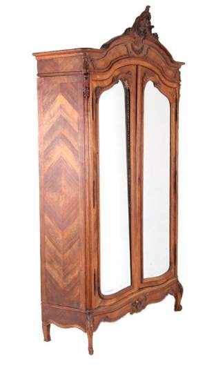 French Louis XV Carved Wood Armoire 19th Century