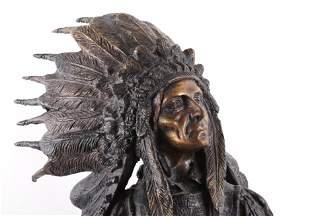 """Carl Kauba """"War"""" Indian Chief Bronze Sculpture"""