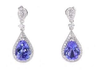 Art Deco Tanzanite & Diamond Platinum Earrings