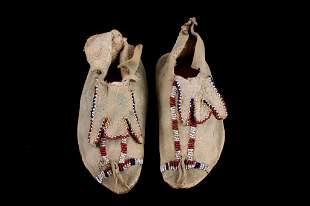 Apache Trifurcated Tongue Beaded Moccasins 1890