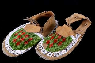 Montana Reservation Crow Beaded Moccasins