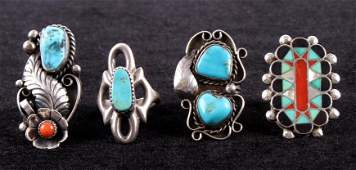 Zuni  Navajo TurquoiseCoral Ring Collection