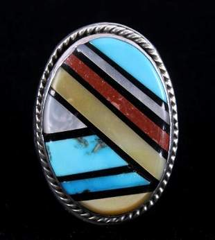 Zuni Signed Sterling Inlaid Multi-Stone Men's Ring
