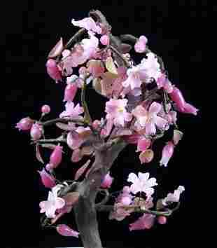 Carved Jade Cherry Blossom Tree Japanese Bowl