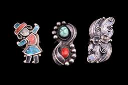 Navajo Sterling Silver Turquoise  Coral Rings