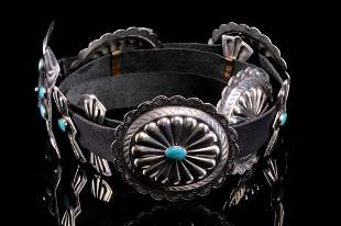Navajo 3rd Phase Blue Gem Turquoise Concho Belt