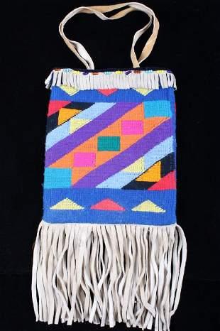 Montana Crow Knitted Beaded Flat Bag Mid 1900's