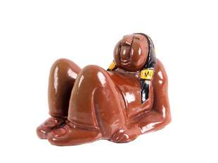Lounging Native American Glazed Figurine c. 1947
