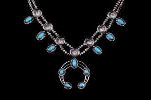 Navajo Sleeping Beauty Squash Blossom Necklace